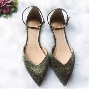 J Crew Sadie Ankle Strap Pointed Toe Flats Glitter
